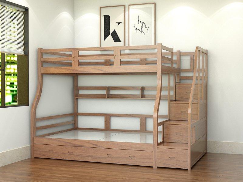 giường gỗ hai tầng tự nhiên